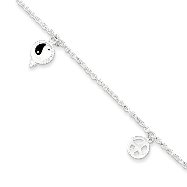 925 Sterling Silver Enameled Yin Yang Peace Dangle Ankle Bracelet