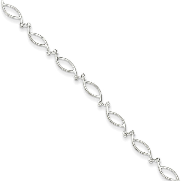 925 Sterling Silver Repeating Hollow Almond Ankle Bracelet