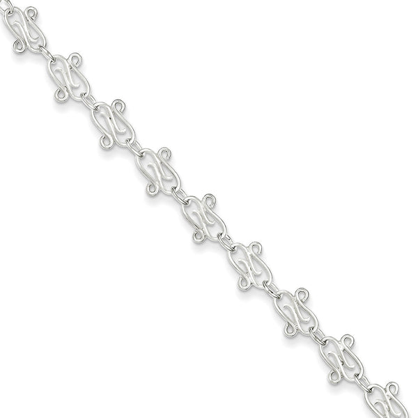 925 Sterling Silver Stylish Swirling Crochet Link Ankle Bracelet