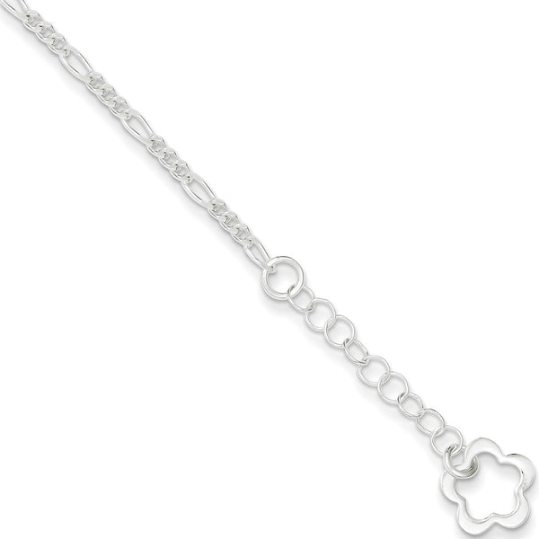 925 Sterling Silver Figaro Chain with Flower Dangle Ankle Bracelet
