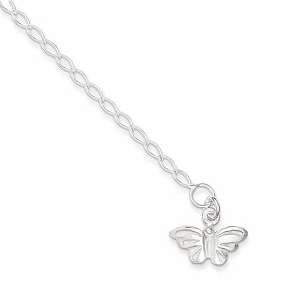 925 Sterling Silver Tamil Nadu Butterfly Dangle Ankle Bracelet