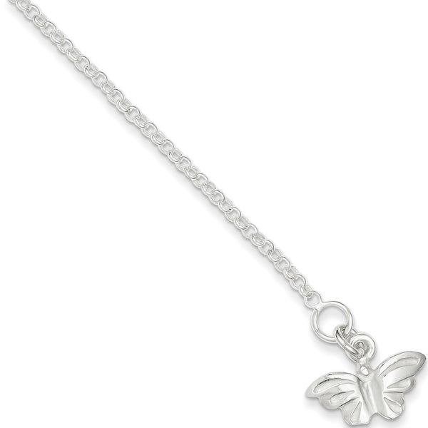 925 Sterling Silver Madrasi Butterfly Dangle Ankle Bracelet