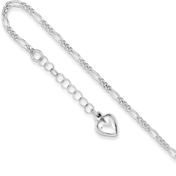 925 Sterling Silver Figaro Chain with Heart Dangle Ankle Bracelet