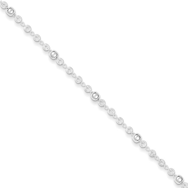 925 Sterling Silver Orbital Bead Hollow Link Ankle Bracelet