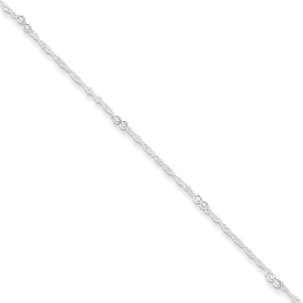 925 Sterling Silver Beaded Ultra Thin Singapore Chain Ankle Bracelet