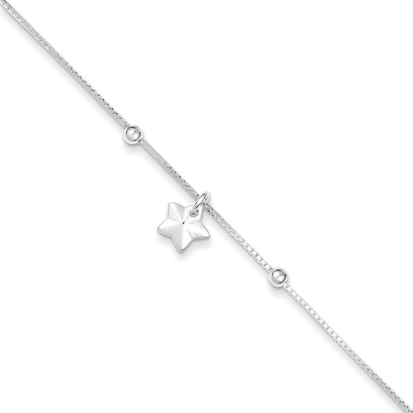 925 Sterling Silver Twinkle Little Star Dangle Ankle Bracelet