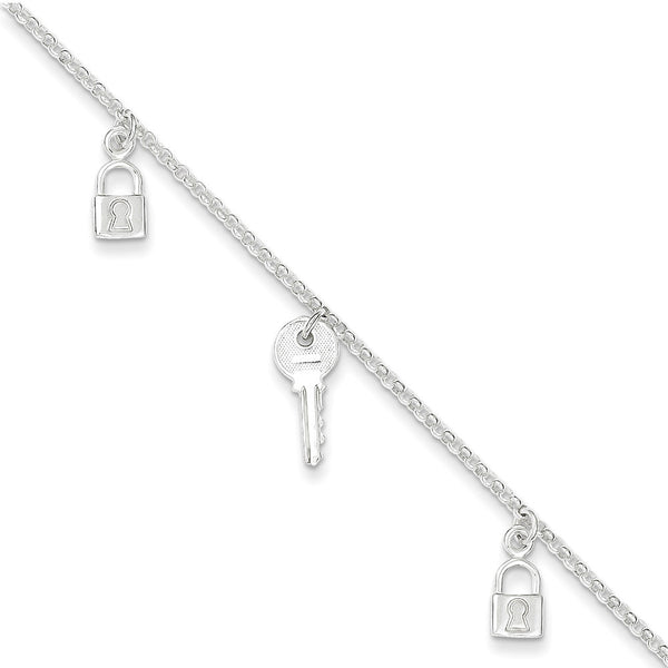 925 Sterling Silver Keeping Secrets Lock and Key Dangle Ankle Bracelet