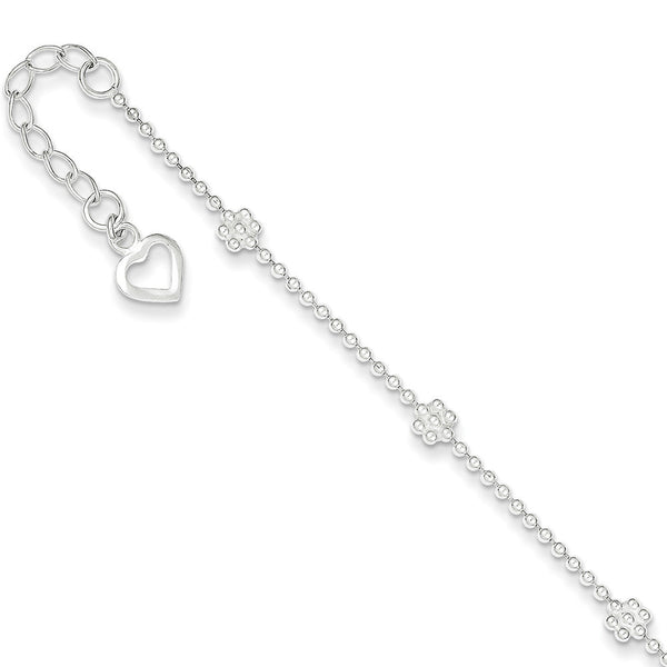 925 Sterling Silver Ball Chain with Beaded Flowers Ankle Bracelet