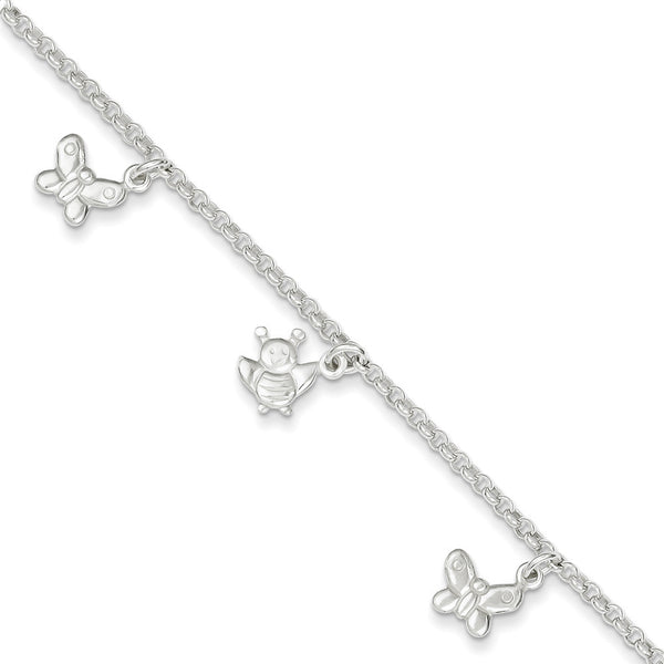 925 Sterling Silver Adorable Butterfly and Bumble Bee Ankle Bracelet
