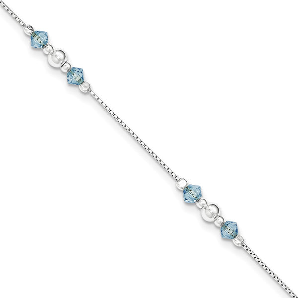 925 Sterling Silver Blue Cubic Zirconia Box Chain Ankle Bracelet