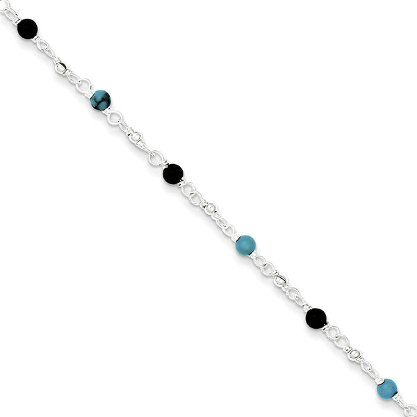 925 Sterling Silver Beautiful Black and Blue Beaded Ankle Bracelet