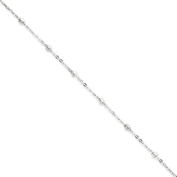 925 Sterling Silver Thin Beaded Cable Chain Ankle Bracelet