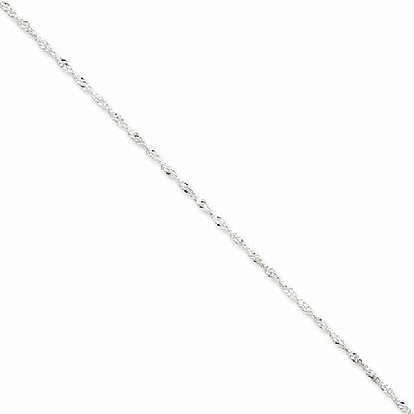925 Sterling Silver Double Helix Singapore Chain Ankle Bracelet
