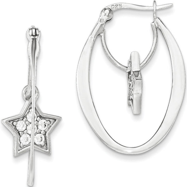 925 Sterling Silver Sparkling Cubic Zirconia Star Dangle Hoop Earrings