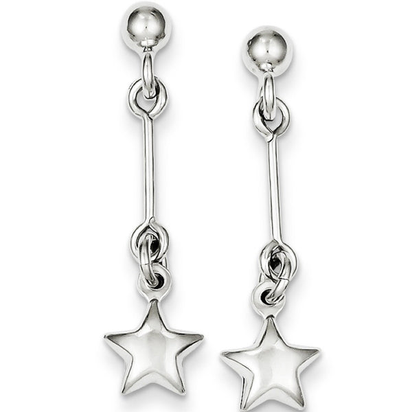 925 Sterling Silver Straight Link Star Dangle Earrings