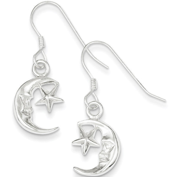 925 Sterling Silver Man in the Moon with Star Dangle Earrings