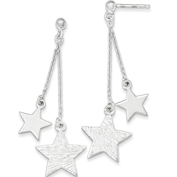 925 Sterling Silver Twin Textured Star Dangle Earrings
