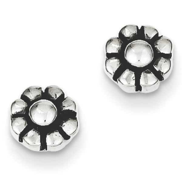 925 Sterling Silver Antiqued Simple Spring Flower Stud Earrings