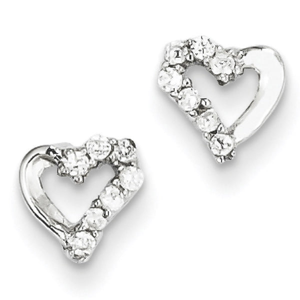 925 Sterling Silver Cubic Zirconia Vivid Love Heart Stud Earrings