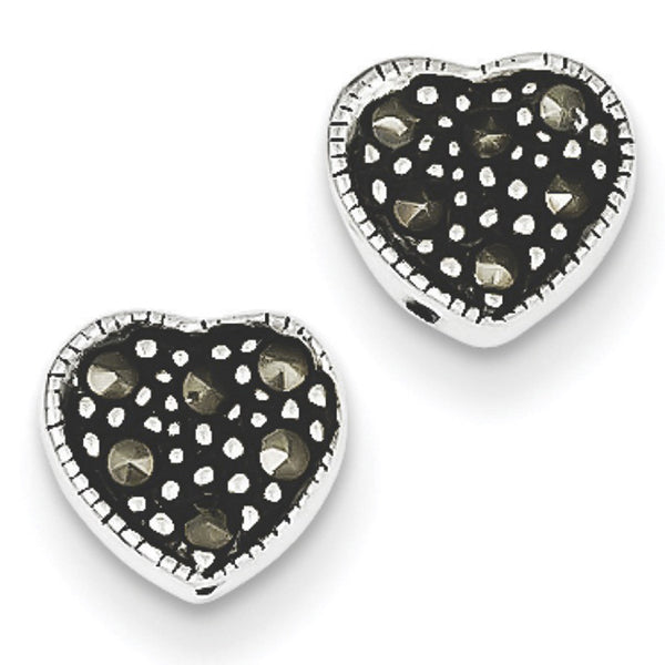 925 Sterling Silver Antiqued Marcasite Heart Stud Earrings