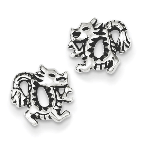925 Sterling Silver Antiqued Miniature Dragon Stud Earrings