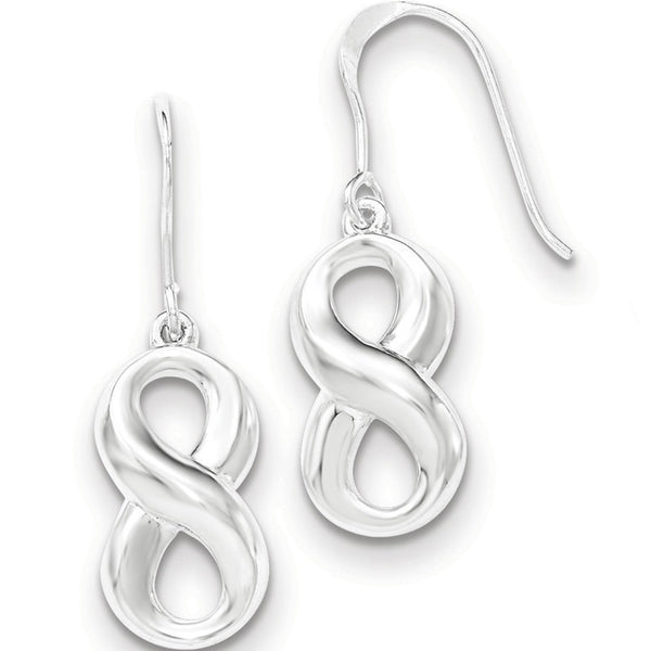 925 Sterling Silver Rounded Infinity Symbol Dangle Earrings