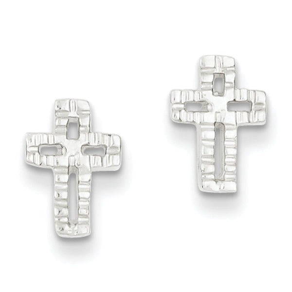 925 Sterling Silver Mod Block Miniature Cross Stud Earrings