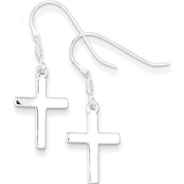 925 Sterling Silver Glossy Smooth Cross Dangle Earrings