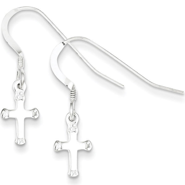 925 Sterling Silver Frill Tipped Budded Cross Dangle Earrings