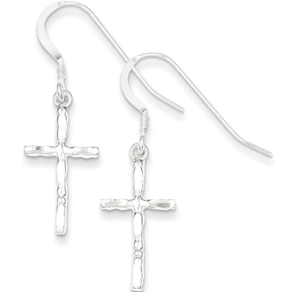 925 Sterling Silver Diamond Cut Slender Cross Dangle Earrings