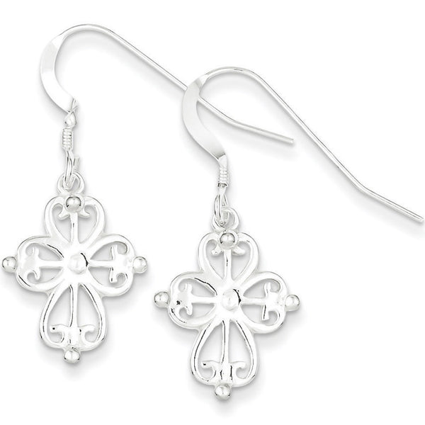 925 Sterling Silver Detailed Basilica Cross Dangle Earrings