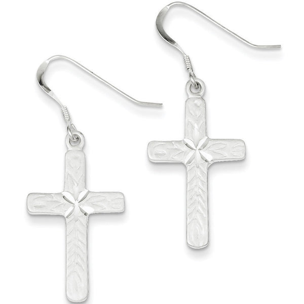 925 Sterling Silver Diamond Cut Nazarene Palm Cross Dangle Earrings