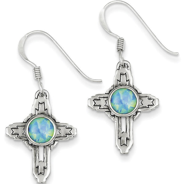 925 Sterling Silver Tribal Cross with Created Opal Dangle Earrings