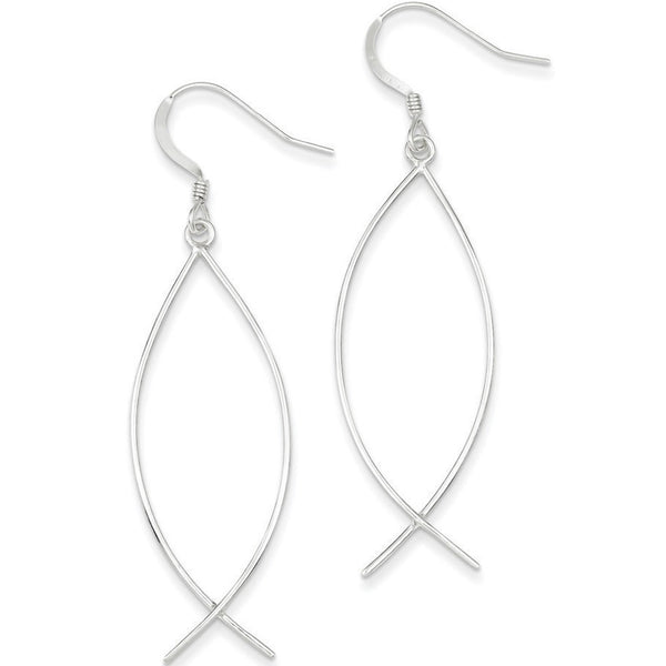 925 Sterling Silver Long Hollow Ichthus Fish Dangle Earrings