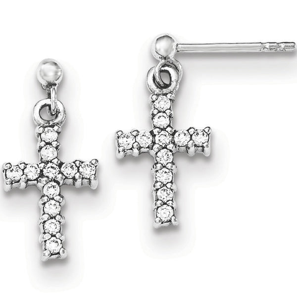 925 Sterling Silver Sunday Special Cross Post Dangle Earrings