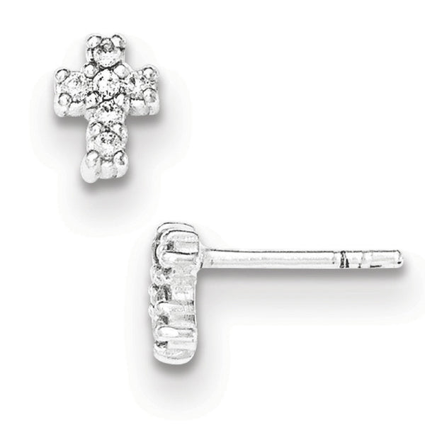 925 Sterling Silver Sparkling First Communion Cross Stud Earrings