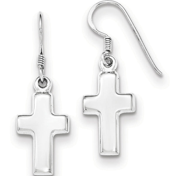 925 Sterling Silver Simple Christian Cross Dangle Earrings