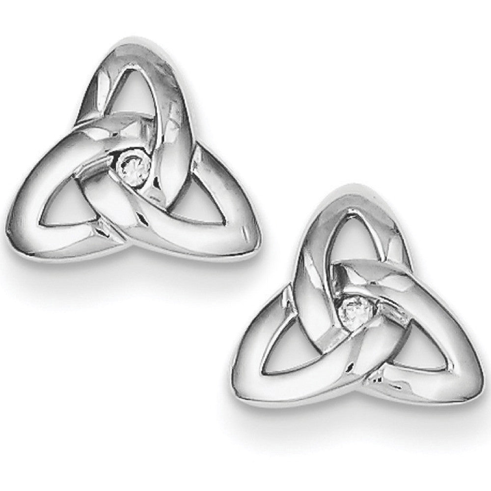 bb038f232 925 Sterling Silver CZ Accent 10mm Celtic Trinity Knot Stud Earrings –  BodyCandy