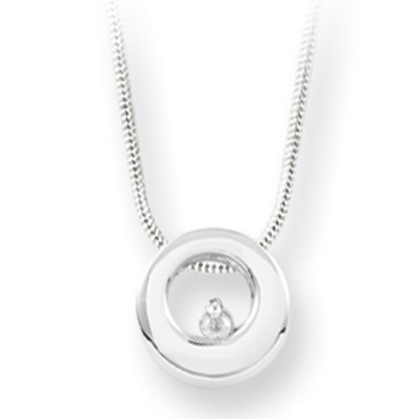 White Ice Sterling Silver Genuine Diamond Mod Circle Necklace