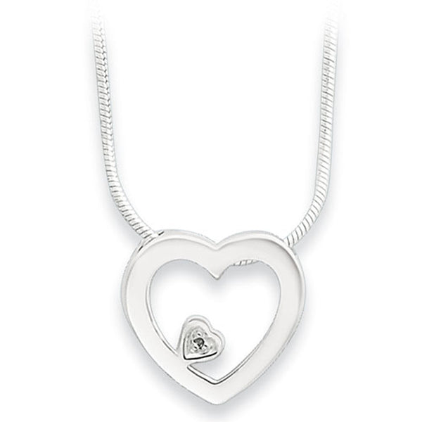 White Ice Sterling Silver Genuine Diamond Open Heart Necklace