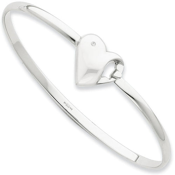 White Ice Sterling Silver Genuine Diamond Heart Bangle Bracelet