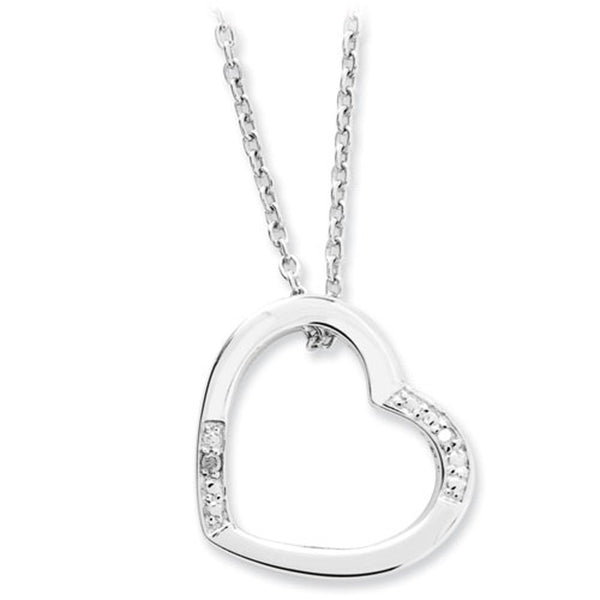 White Ice Sterling Silver Genuine Diamond Heart Necklace