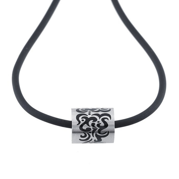 Rubber Cord Stainless Steel Tribal Necklace 18 Inch