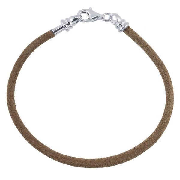 FROLIC Sterling Silver Natural Leather 3mm Cord Bracelet - 7.5 Inches