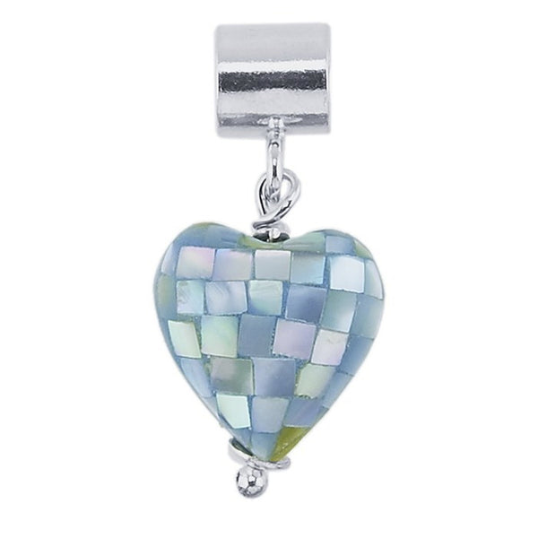 FROLIC Sterling Silver Blue Mother of Pearl Heart Charm