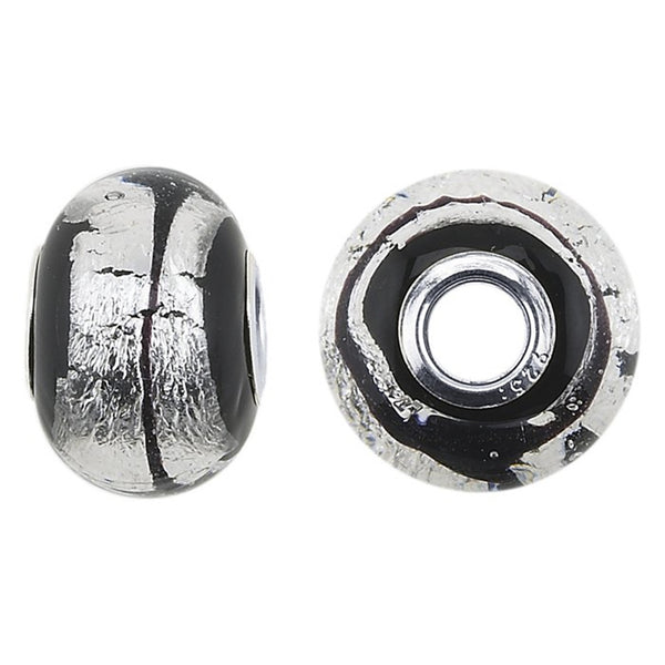 FROLIC Sterling Silver Silver Stripe Murano Glass Roundel Charm
