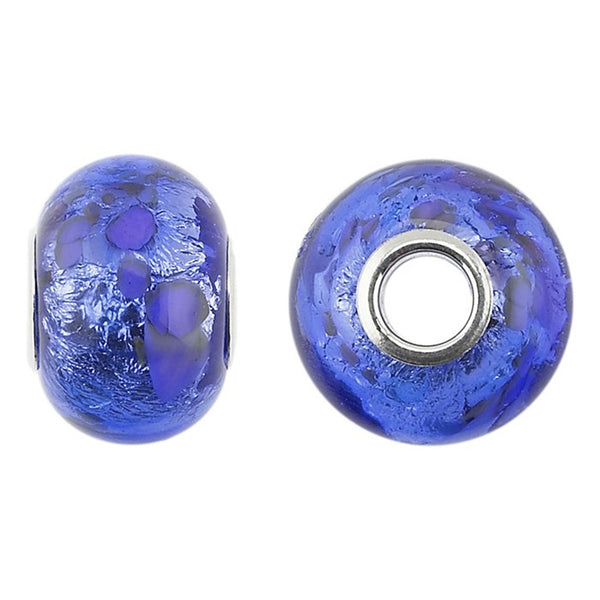 FROLIC Sterling Silver Blue Swirl Murano Glass Roundel Charm
