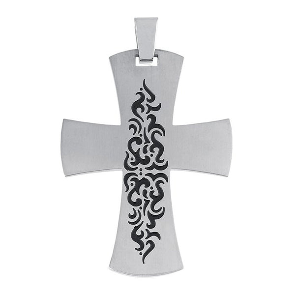 Stainless Steel Tribal Cross Pendant 42x32mm