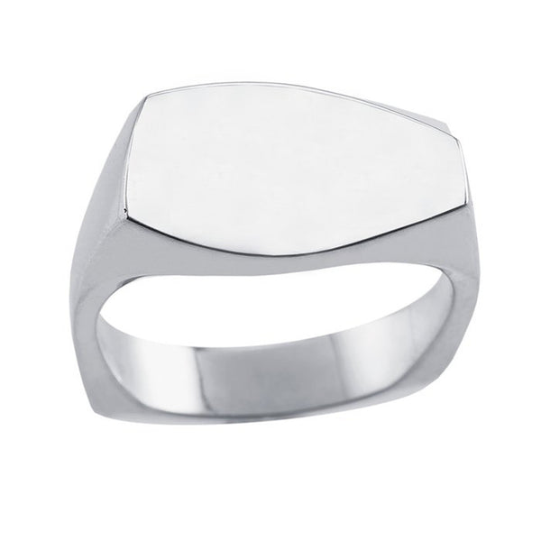 Argentium Silver 12.8mm Signet Ring - Size 10