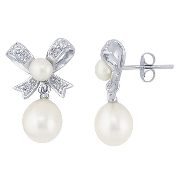 Sterling Silver CZ Bow Freshwater Pearl Post Earrings